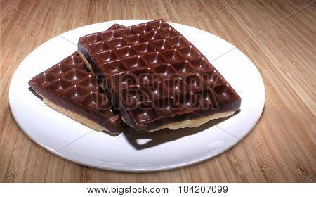 Delicious chocolate covered waffles on a white plate
