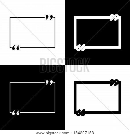 Text quote sign. Vector. Black and white icons and line icon on chess board.