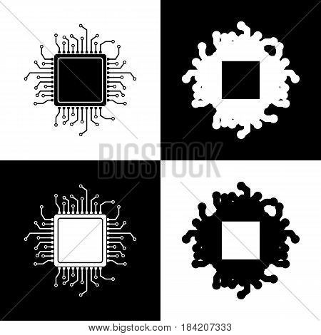 CPU Microprocessor illustration. Vector. Black and white icons and line icon on chess board.