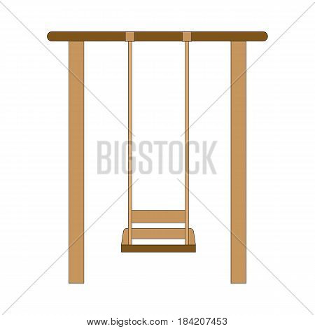 One wood swing hanged isolated on white background. Child brown swing vector illustration