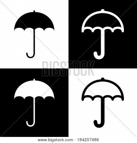 Umbrella sign icon. Rain protection symbol. Flat design style. Vector. Black and white icons and line icon on chess board.