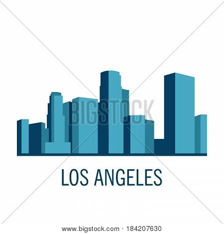 Down town American landscape with skyscrapers and high-rise buildings in flat style a vector.View of Los angeles