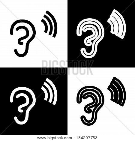 Human anatomy. Ear sign with soundwave. Vector. Black and white icons and line icon on chess board.