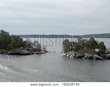Islands in the Baltic Sea. Rocky shore needles trees windy day