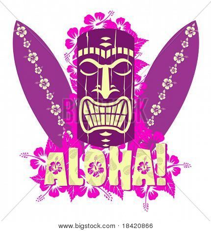 Vector illustration of tiki mask with surf boards, and hand drawn text Aloha