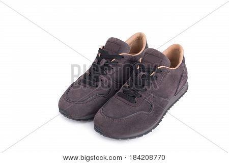 New Suede sneakers isolated on white background