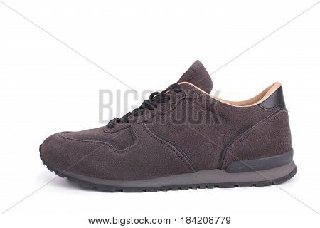 Suede Sneaker Isolated On A White Background. Gray Suede Sneaker