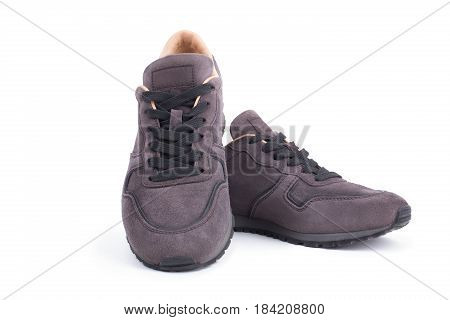 Luxury Suede sneakers isolated on white background