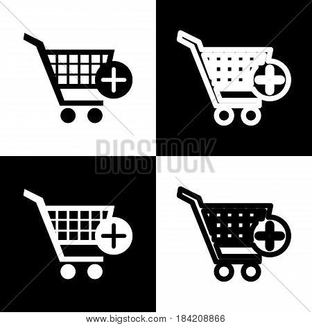 Shopping Cart with add Mark sign. Vector. Black and white icons and line icon on chess board.