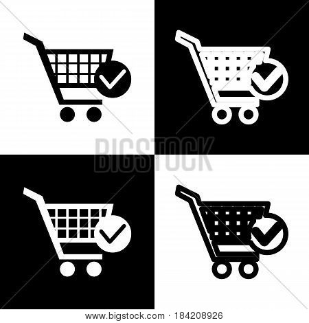 Shopping Cart with Check Mark sign. Vector. Black and white icons and line icon on chess board.