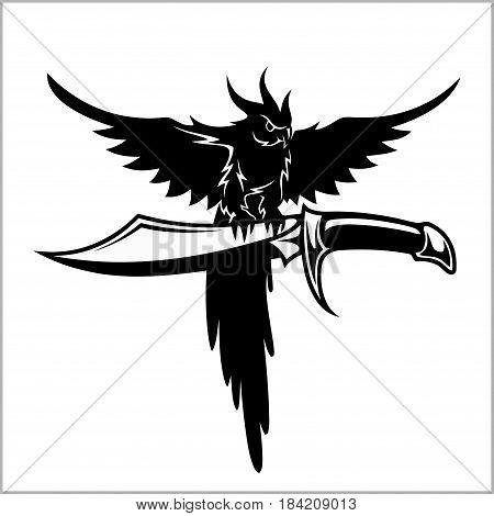 Pirates crew logo - parrot and sword - vector