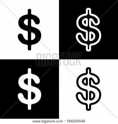 Dollars sign illustration. USD currency symbol. Money label. Vector. Black and white icons and line icon on chess board.