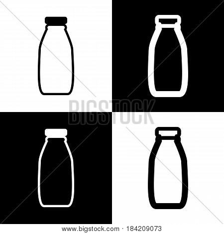 Milk bottle sign. Vector. Black and white icons and line icon on chess board.