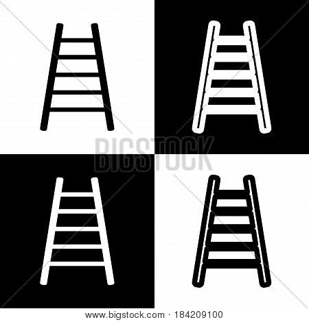 Ladder sign illustration. Vector. Black and white icons and line icon on chess board.