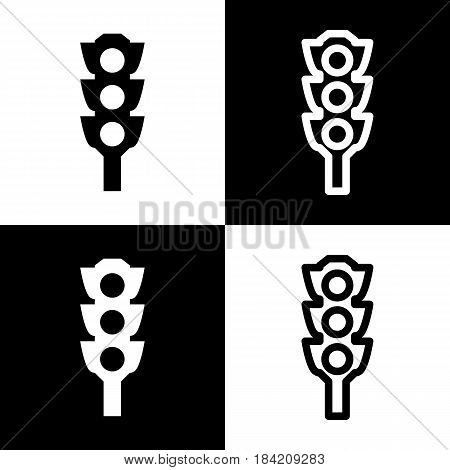 Traffic light sign. Vector. Black and white icons and line icon on chess board.