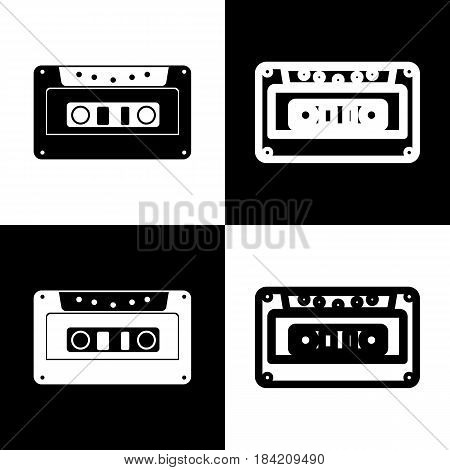 Cassette icon, audio tape sign. Vector. Black and white icons and line icon on chess board.
