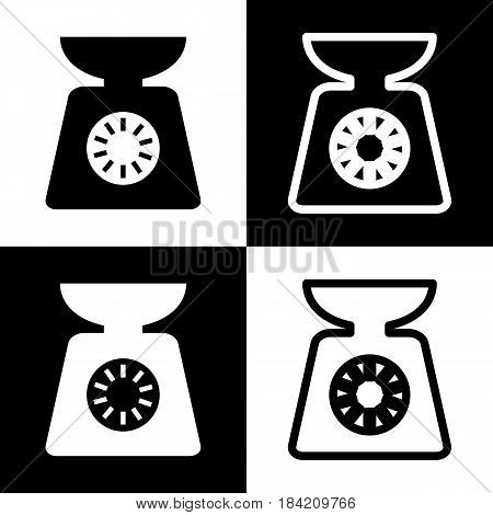 Kitchen scales sign. Vector. Black and white icons and line icon on chess board.