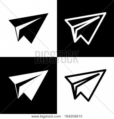 Paper airplane sign. Vector. Black and white icons and line icon on chess board.