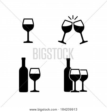 Icon set pictogram with wine glasses and bottles, clink glasses. Vector illustration