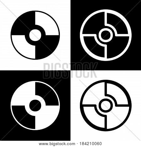 Vector CD or DVD sign. Vector. Black and white icons and line icon on chess board.