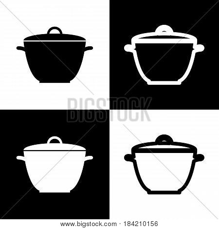 Saucepan simple sign. Vector. Black and white icons and line icon on chess board.