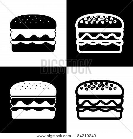 Burger simple sign. Vector. Black and white icons and line icon on chess board.
