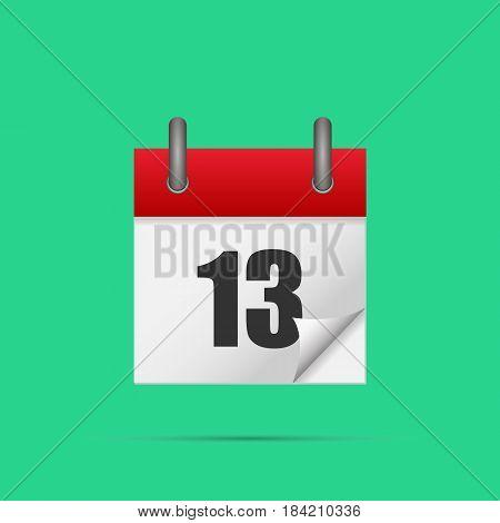 Calendar icon. Calendar date - 13th Vector illustration. Eps 10.