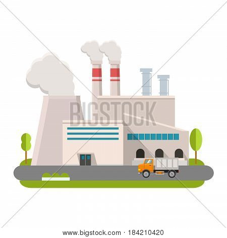 Industrial factory in flat style a vector an illustration.Plant or Factory Building. road tree window facade.Manufacturing factory building. industrial building concept.Eco style factory