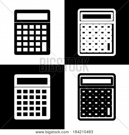 Calculator simple sign. Vector. Black and white icons and line icon on chess board.