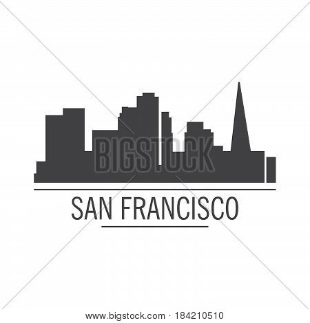 City silhouette. Down town American landscape with skyscrapers and high-rise buildings in flat style a vector.View of San Francisco from the river