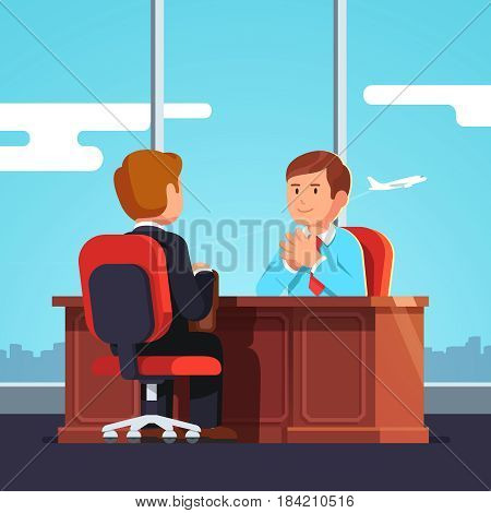 New employee and boss meeting. Executive manager sitting at desk holding hands in raised steeple gesture. Job interview CEO or HR officer and candidate. Flat style modern vector isolated illustration.