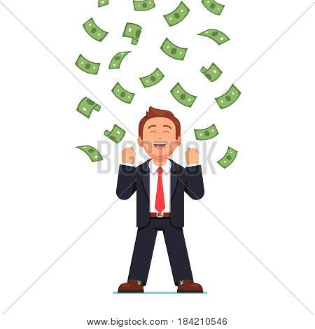 Dollars raining down on business man standing celebrating his victory. Expressing yes gesture with both clenched fists hands. Cash money shower. Rich and successful. Flat style vector illustration.