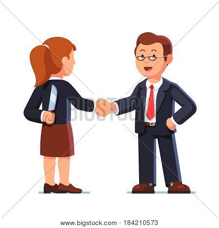 Business woman and man standing together and shaking each other hands while one holding knife behind back. Treacherous deal, fraud or betrayal. Hiding killer concept. Flat style vector illustration