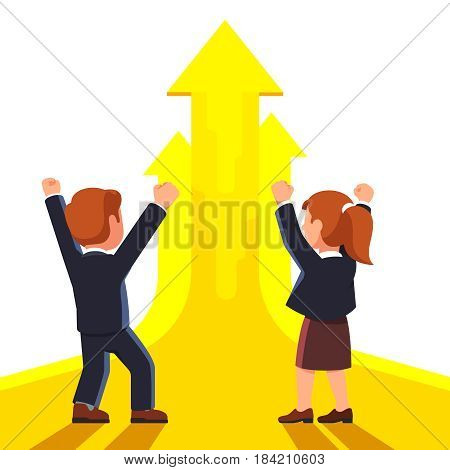 Businessman and woman executives celebrating startup success. Making winner and yes gestures raising hands with clenched fists up. Skyrocket business growth. Flat style vector illustration.