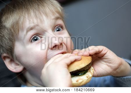 Hungry boy biting burger in a restaurant