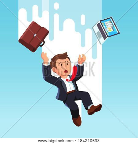 Shocked business man with laptop computer falling down fast from the sky after being fired or making a mistake in work. Bankruptcy and economic crisis concept. Flat style modern vector illustration.