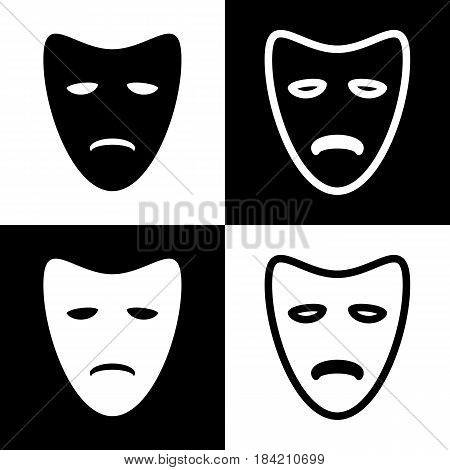 Tragedy theatrical masks. Vector. Black and white icons and line icon on chess board.