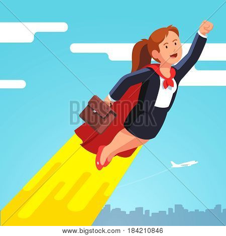 Superhero business woman and leader in red cape flying in the sky like a rocket showing yes winner gestures with clenched fists. Flat style modern vector illustration isolated on white background.