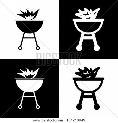Barbecue with fire sign. Vector. Black and white icons and line icon on chess board.