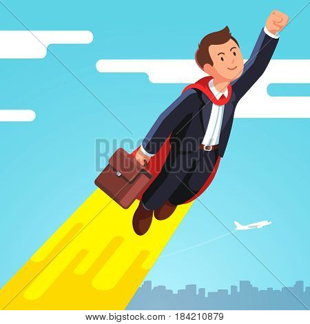 Superhero business man and leader in red cape flying fast in the sky like a rocket showing yes winner gestures with clenched fists. Flat style modern vector illustration isolated on white background.