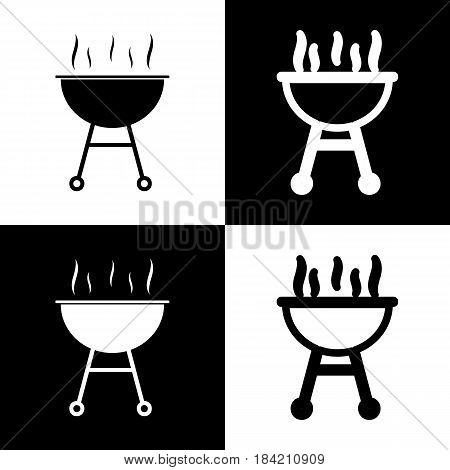Barbecue simple sign. Vector. Black and white icons and line icon on chess board.