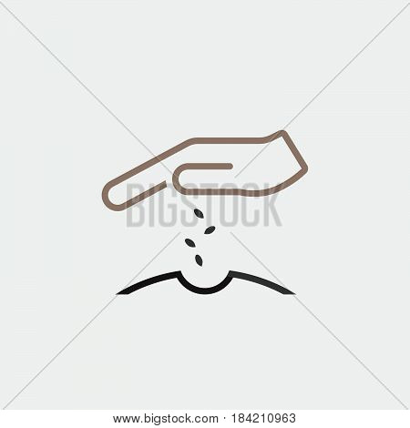 Sowing seeds icon isolated on white background .