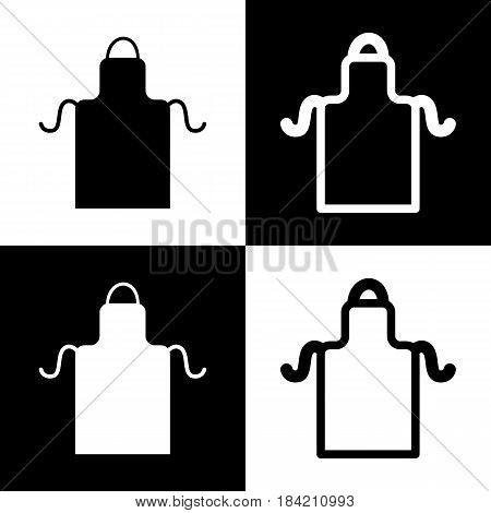 Apron simple sign. Vector. Black and white icons and line icon on chess board.