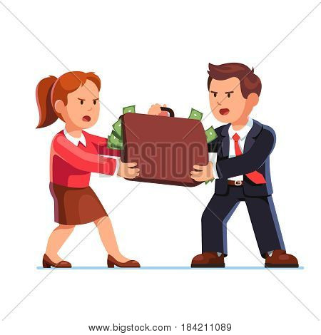 Angry business man and woman standing opposite each other taking away the suitcase full of dollars. Conflict and fight for money. Flat style modern vector illustration isolated on white background.
