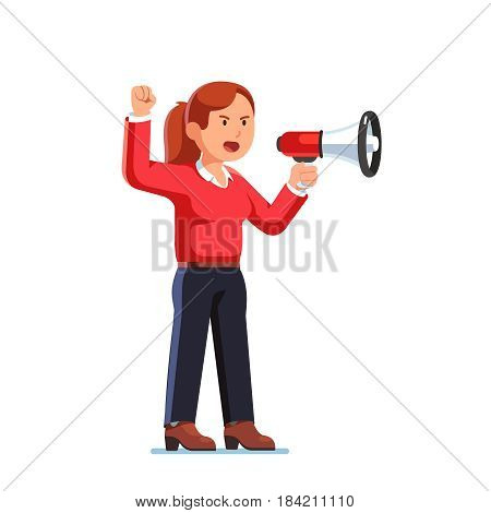 Serious business woman, boss or leader shouting out commands through megaphone raising her hand up with clenched fist gesture. Flat style modern vector illustration isolated on white background.