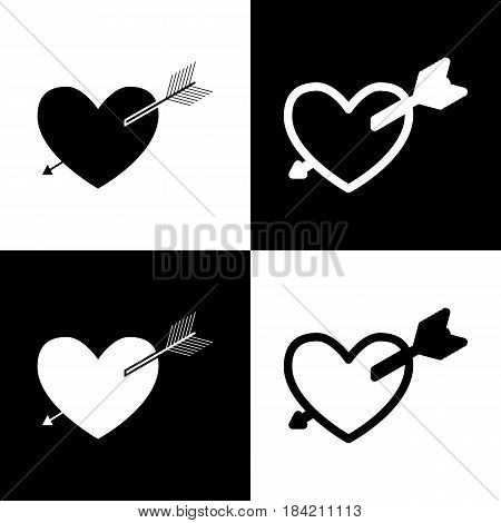 Arrow heart sign. Vector. Black and white icons and line icon on chess board.
