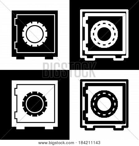 Safe sign illustration, crib, vault, lock box. Vector. Black and white icons and line icon on chess board.