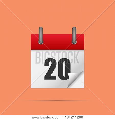 Calendar icon. Calendar date - 20th Vector illustration. Eps 10.
