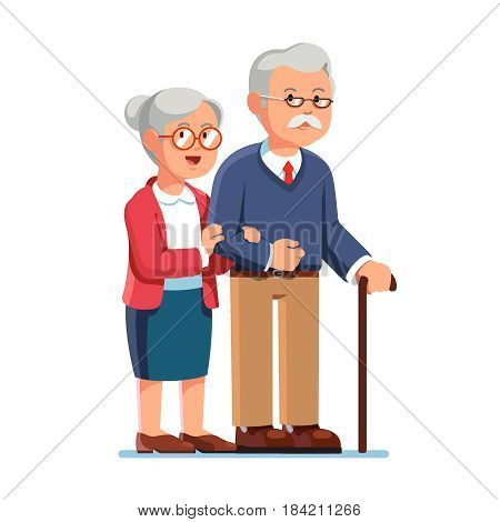 Old senior man and woman in glasses standing or walking together arm in arm. Aged grey haired couple. Flat style modern vector illustration isolated on white background.