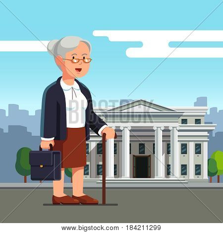 Old business woman professor with walking stick standing in front of white brick court house, bank, university or governmental institution. Aged retired office worker. Flat style vector illustration